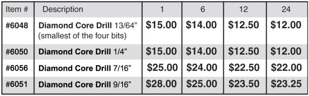 Pricing Table - Diamond Core Drill